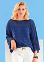 Синий пуловер с сетчатым узором и ребристыми полосами. Спицы