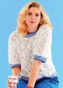 Ажурный белый пуловер с полосатыми планками. Спицы