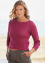 Ажурный шелковый пуловер с рукавами 3/4. Спицы