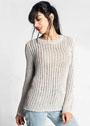 Светлый пуловер со сквозным узором. Спицы