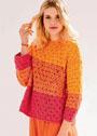 Пуловер с яркими цветными блоками. Спицы