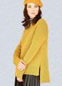 Желтый пуловер с удлиненной спинкой. Спицы