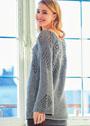 Пуловер с ажурным узором из ромбов. Спицы