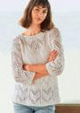 Белый пуловер с ажурными зигзагами. Спицы