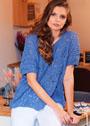 Ажурный джинсово-синий пуловер оверсайз. Спицы