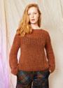 Свободный пуловер цвета меди с круглой кокеткой. Спицы