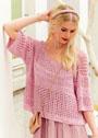 Шелковый пуловер с рельефным и дырчатым узорами. Спицы