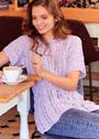 Сиреневый летний пуловер с ажурными полосами. Спицы