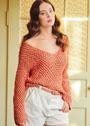 Пуловер с крупным сетчатым узором. Спицы