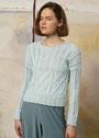 Элегантный пуловер мятного цвета с миксом узоров. Спицы
