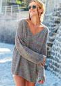 Свободный меланжевый пуловер с узором рис. Спицы