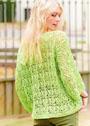 Светло-зеленый хлопковый пуловер с фантазийным ажурным узором. Спицы