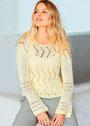 Светло-желтый легкий пуловер с ажурными узорами. Спицы