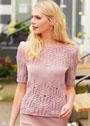 Летний бледно-розовый пуловер с ажурным узором. Спицы