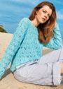 Летний пуловер с ажурным узором из сквозных ромбов. Спицы