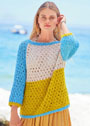 Трехцветный ажурный пуловер. Спицы