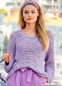 Сиреневый пуловер со сплошным рельефным узором. Спицы