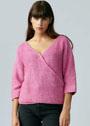 Розовый хлопковый пуловер с эффектом запáха. Спицы