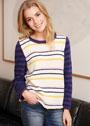 Пуловер в полоску с контрастными рукавами. Спицы