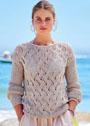 Летний ажурный пуловер с сетчатыми рукавами. Спицы