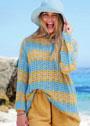 Летний полосатый пуловер с волнистым узором. Спицы