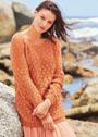 Повседневный ажурный пуловер с круглой кокеткой. Спицы