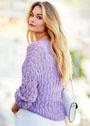 Ажурный пуловер лавандового цвета. Спицы