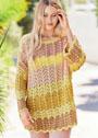 Удлиненный пуловер оверсайз с волнистыми узорами. Спицы