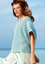 Бирюзово-голубой пуловер с ребристыми узорами. Спицы