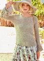 Летний пуловер с ажурными оборками. Спицы