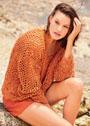 Летний пуловер с миксом ажурных узоров. Спицы