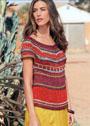 Летний разноцветный пуловер с жаккардовыми узорами. Спицы