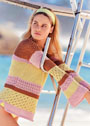 Хлопковый пуловер с полосами цветов и узоров. Спицы