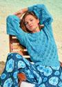 Летний бирюзовый пуловер с ажурным узором. Спицы