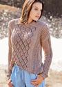 Бежевый узорчатый пуловер с отложным воротником. Спицы