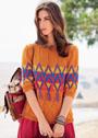 Пуловер с разноцветными жаккардовыми ромбами. Спицы