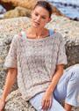 Летний пуловер оверсайз с волнистым ажурным узором. Спицы