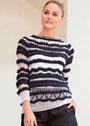 Черно-белый пуловер с сочетанием узоров. Спицы
