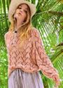 Пудрово-розовый хлопковый пуловер с ажурным узором. Спицы