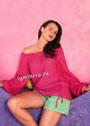 Розовый ажурный пуловер с вырезом Кармен. Спицы