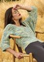 Пуловер асимметричной вязки, с рукавами длиной 3/4. Спицы