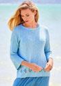 Пуловер с полосой ажурного узора. Спицы