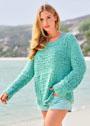 Бирюзовый хлопковый пуловер со структурным узором. Спицы
