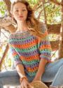 Пуловер с разноцветными полосами и сквозным узором. Спицы