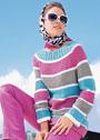 Хлопковый пуловер в полоску с миксом узоров. Спицы