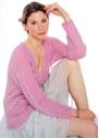 Розовый цельновязаный резинкой пуловер. Спицы
