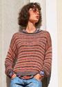 Многоцветный пуловер в полоску. Спицы