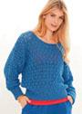 Синий пуловер с рукавами летучая мышь и рельефным узором. Спицы