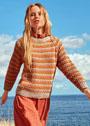 Трехцветный пуловер-реглан в полоску. Спицы