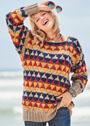 Пуловер с многоцветным узором соты. Спицы